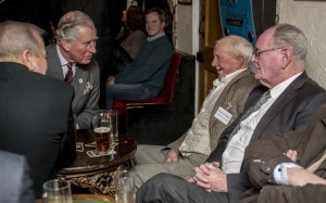 HRH chats to Maurice Parker at the White Horse at Upton