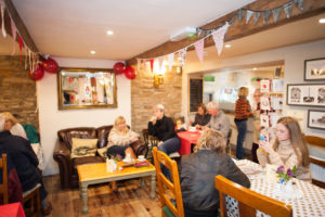 Interior of Patrick's cafe at Dog Inn, Belthorn in Lancashire